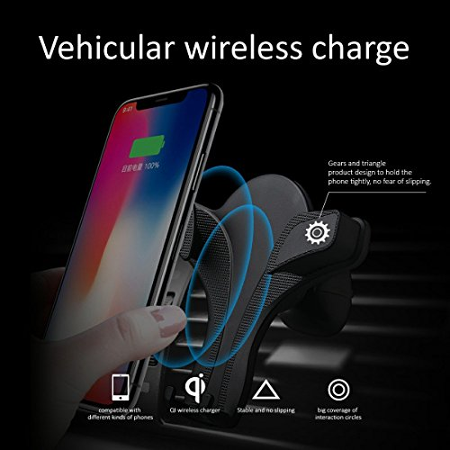 10W Wireless Car Charger, Ameter QI Wireless Car Mount, B70 Air Vent Phone Hold, Quick Charge for Samsung Galaxy S9, S9 Plus, S8, S8 Plus, Note 8 etc. Standard Charge for iPhone X, iPhone8, iPhone 8 P by Ameter (Image #1)