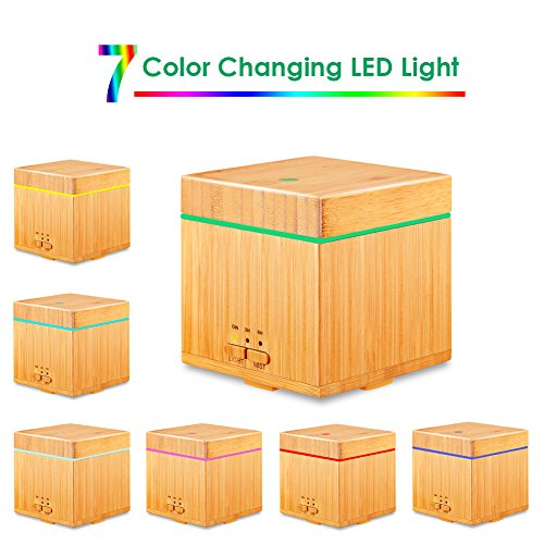 URPOWER Real Bamboo Oil Diffuser Square Ultrasonic Cool Aromatherapy Auto 7 LED Lights and 3 Timer Settings