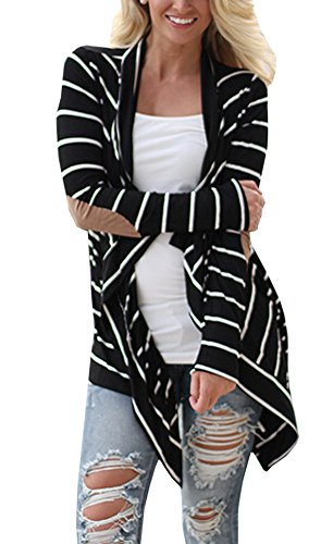 Relipop Women Black and White Striped Long Cardigan Loose Jacket