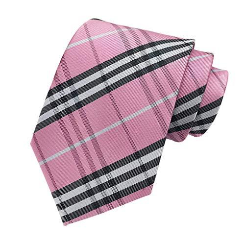 MENDENG New Classic Striped Pink Black Jacquard Woven Ties Silk Mens Tie Necktie Black Silk Woven 1 Tie