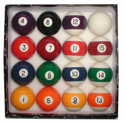 Deluxe Billiards Pool 16 Ball Set - Standard 2.25 Inch Balls by TMG
