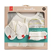 goumikids Newborn Organic Cotton Gift Set: Mitts, Booties, and Jamms Baby Gown (Geo Wave (Gray))