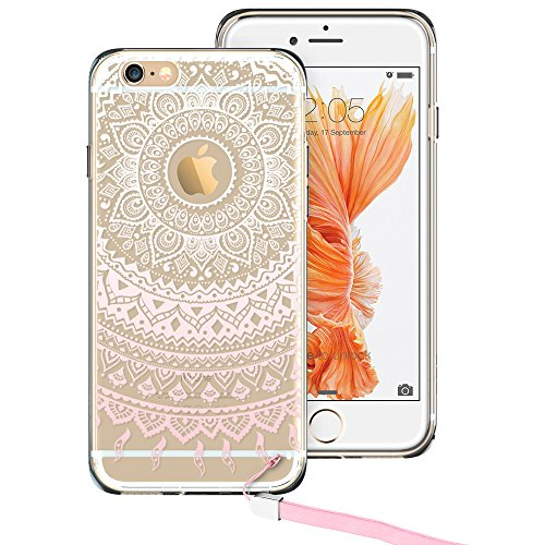 iPhone 6s Plus Case, ESR One Piece Hybrid Case Soft Rubber Bumper+ Hard Plastic Back White Henna [[Totem Series ] [Free Lanyard] for 5.5 inches iPhone 6s Plus/iPhone 6 Plus (Pink Manjusaka)