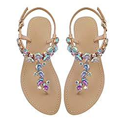 Flip Flops with Beadeed Rhinestone Crystals