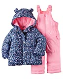 Carter's Baby Girl Floral Snowsuit Set (Pink, 18 Months)