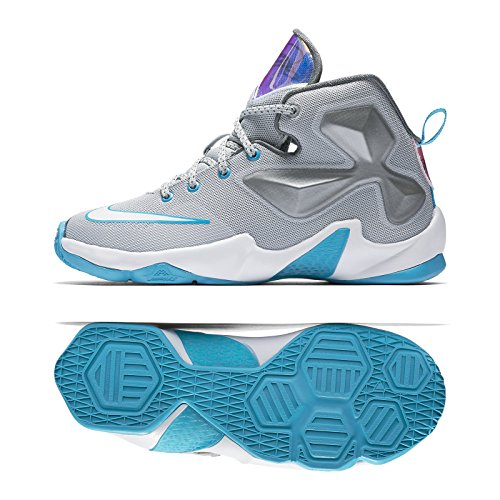 Nike LeBron XIII 13 (PS) 808710-014 Wolf Grey/White/Blue Lagoon Little Kids Shoes (size 1.5Y) (Basketball Shoes Size 13 Kids)
