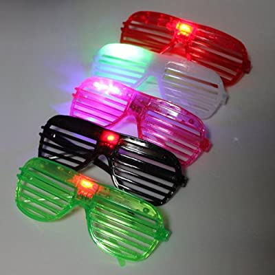 Water & Wood Light UP LED Fashing Multi-color Rockstar Sunglasses(Color Random): Toys & Games