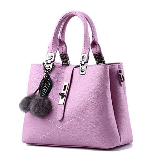 Laozan Shoulder Bags Large Capacity Bag Pu Leather Accessories Rose Purple