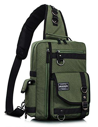 (Leaper Messenger Bag Outdoor Cross Body Bag Sling Bag Shoulder Bag Army Green2)