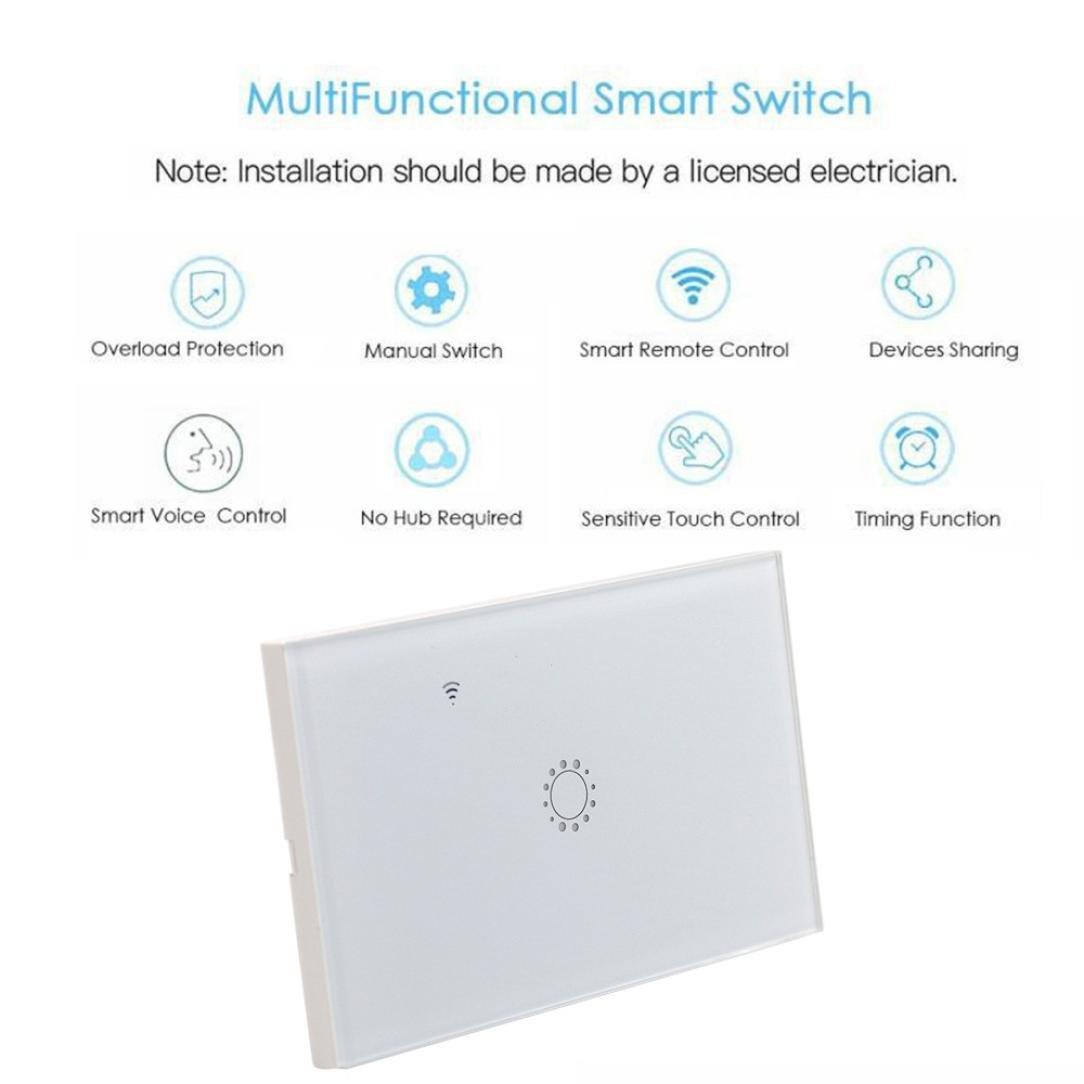 Switch Capacitive Hand Switch Wireless Remote Control Glass 1-gang Smart Home AU/US Crystal Waterproof Glass Touch Screen Light Switch&Mini Remote Wifi phone control (White) by Liu Nian (Image #7)