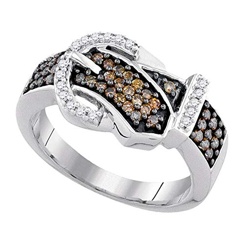 Jewels By Lux 10kt White Gold Womens Round Brown Diamond Belt Buckle Band Ring 1/2 Cttw In Pave Setting (I2-I3 clarity; Brown color)