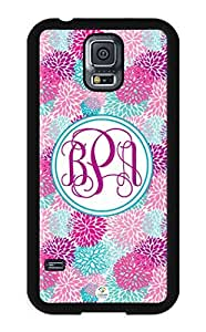iZERCASE Samsung Galaxy S5 Case Monogram Personalized Pink Flowers Seemless Pattern RUBBER CASE - Fits Samsung Galaxy S5 T-Mobile, Sprint, Verizon and International (Black)