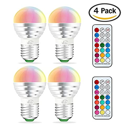 iLC RGB LED Light Bulb, Color Changing Light Bulb Dimmable 3W E26 E27 Screw Base RGBW, Mood Light - Dual Memory - 12 Color Choices - Timing Infrared Remote Control Included (4 - 3 Color Led
