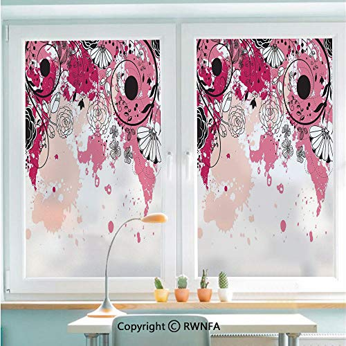 RWNFA Non-Adhesive Privacy Window Film Door Sticker Stylish Paintbrush Flower Petals Flourishing Blooms in Watercolor Artwork Glass Film 22.8 in by 35.4in(58cm by 90cm),Baby Pink Black Peach