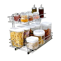 Kitchen Smart Design 2-Tier Shelf Pull-Out Cabinet Organizer – Medium – Roll-Out Extendable Sliding Drawer – Steel Metal – Holds… pull-out organizers