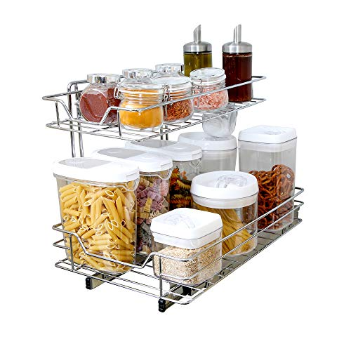 (Smart Design 2-Tier Roll Out Under Sink Sliding Organizer w/Mounting Hardware - Medium - Steel Metal - Holds 100 lbs. - Cabinets, Cookware, Bakeware Items - Kitchen (18-32 x 14 Inch) [Chrome])
