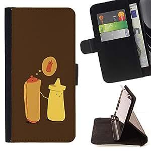 Momo Phone Case / Flip Funda de Cuero Case Cover - Hot Dog Mostaza Cartoon minimalista - Samsung Galaxy S3 III I9300