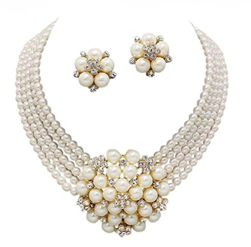 Elegant Statement Cream Simulated-Pearl Cluster Crystal Bridal Gold Chain Necklace Set CLIP ON -