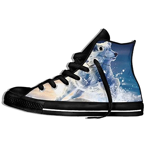 Classic High Top Sneakers Canvas Shoes Anti-Skid Running Wolf Casual Walking For Men Women Black emUO2