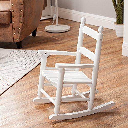 Rocking Kid's Chair Children's Wooden Toddler Patio Rocker Classic KD-20W White - Indoor/Outdoor