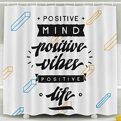 (ROOLAYS Vibes Shower Curtain, Inspirational Motivation Typography Shirt Invitation Greeting Card Sweatshirt Printing Decorative for Home Décor 78x72 Inch Bathroom Fabric Shower Curtains)