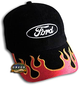 Black Gregs Automotive Compatible Ford Oval Hat Cap Flex-Fit Bundle with Driving Style Decal