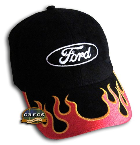Gregs Automotive Ford Oval Flames Logo Hat Cap Red - Bundle with Driving Style Decal