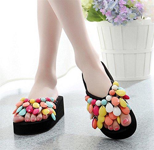 Creativa hecha a mano de playa de cuentas con zapatos de verano de las mujeres pendiente con espina de arenque de arrastrar y soltar único espeso zapatillas 1