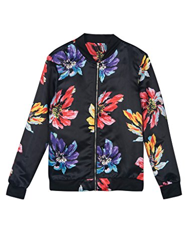 PERSUN Womens Tropical Floral Bomber
