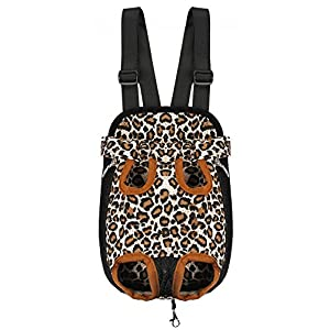 Samia® Pet Dog Puppy Cat Carrier Five Holes Backpack Double Shoulder Straps Canvas Cotton Front Chest Backpack Bag(leopard, Small)