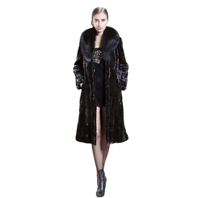 Luckycat Chaqueta de Abrigo de Piel sintética Larga y cálida para Mujer Chaqueta de Abrigo de