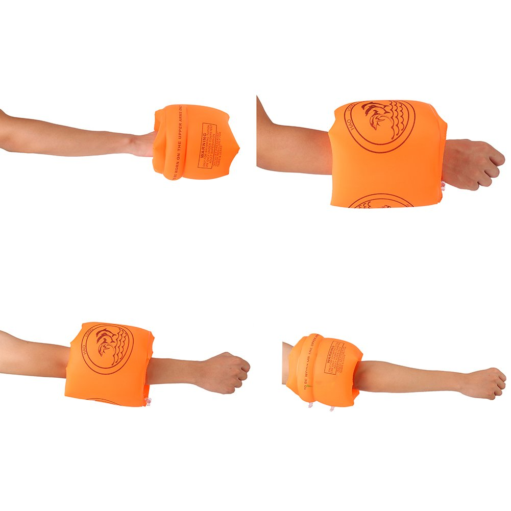CCINEE 2 Pairs Roll Up Inflatable Swimming Arm Bands Float Swimming Ring for Children and Adults