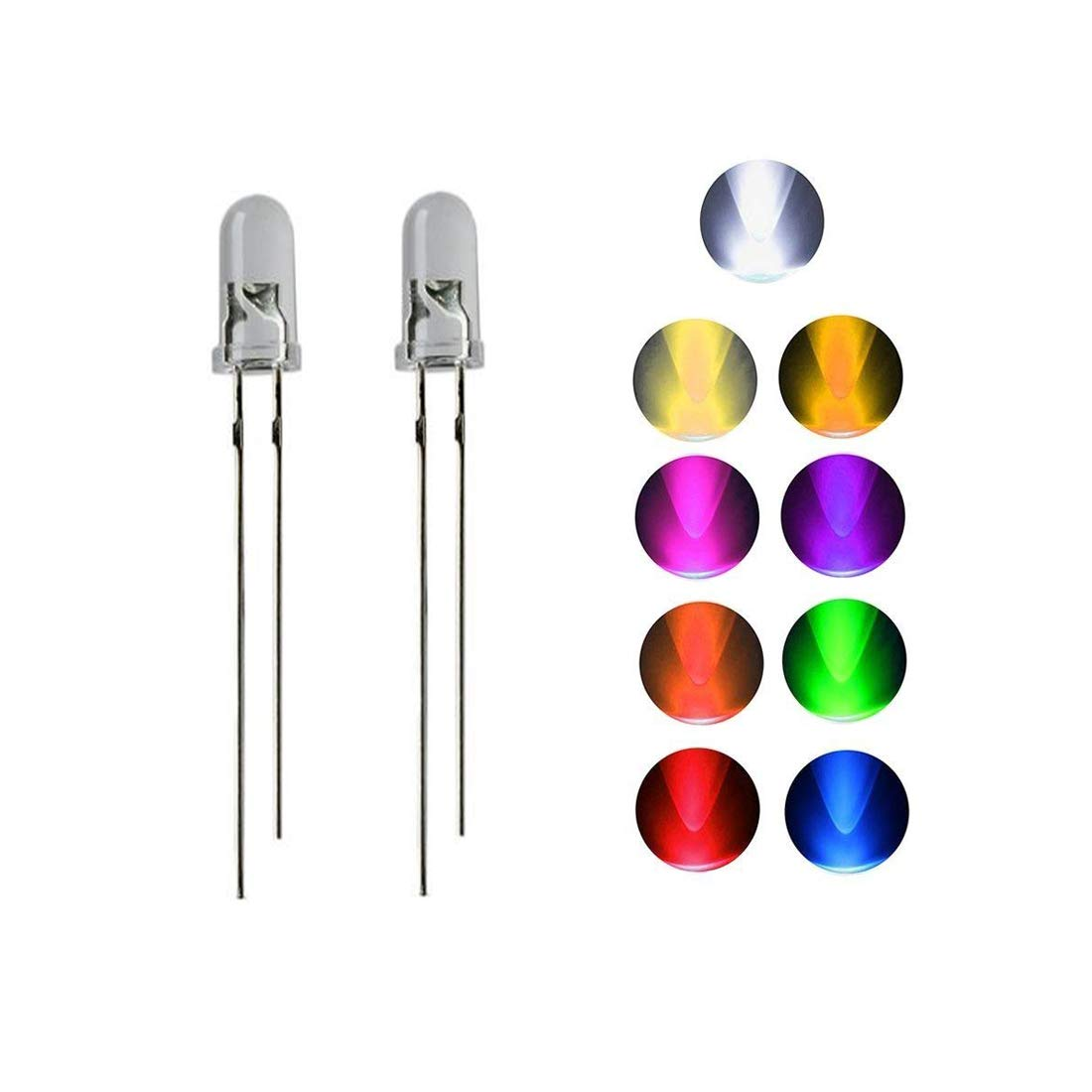 uxcell/® 10mm Clear Cylinder Emitting Diode 2 Pin Green Light LED Lamp 50pcs