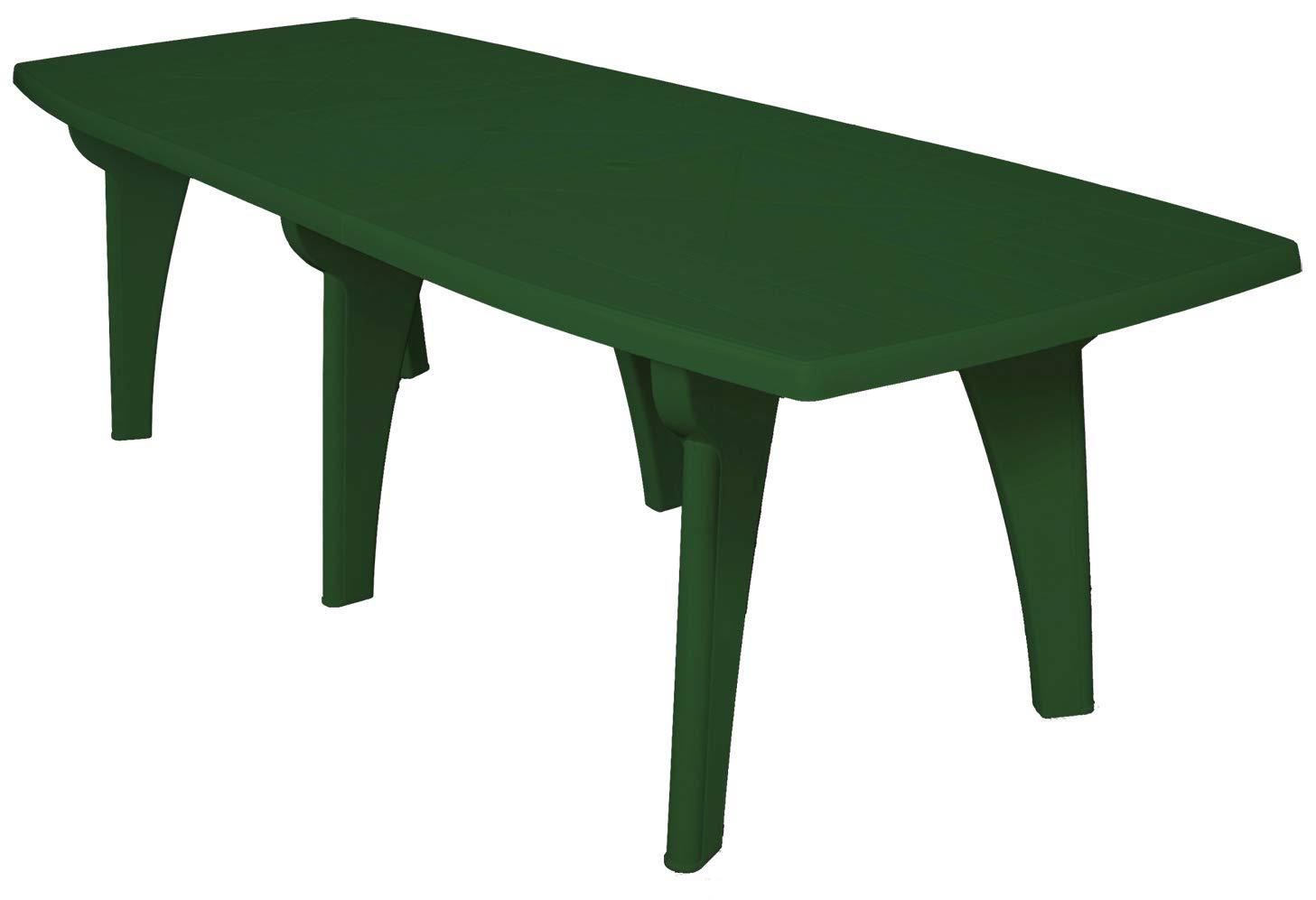 SAVINO FILIPPO SRL Tavolo tavolino rettangolare 250x90 Lipari in dura resina di plastica verde con foro per ombrellone per esterno casa balcone bar sagra da giardino