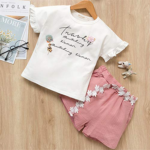 ZHIZHEN 2 Clothes Girls 2019 Summer Cute Flower Sleeves Children's Clothing Suit 4T Pink]()