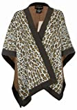Sutton Studio Plus Size Animal Print Knit Wool Topper (One Size, Brown Combo)