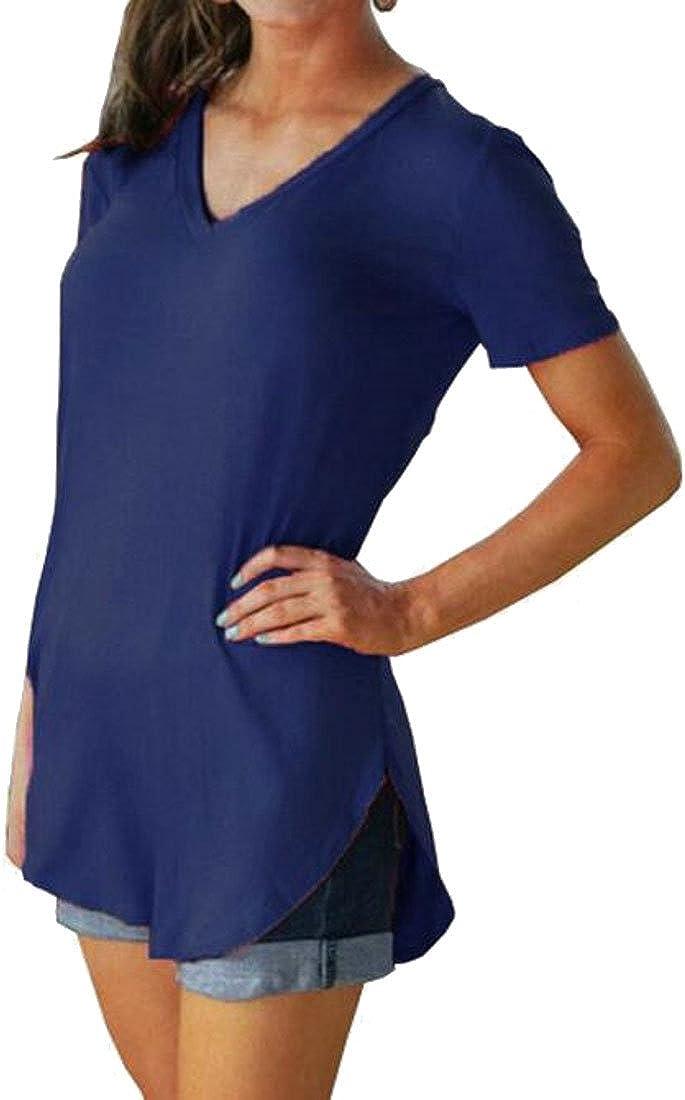 Hajotrawa Women Crewneck Casual Short Sleeve Solid Summer T-Shirts