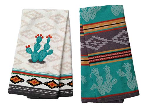 Simply Southwest Cactus Kitchen Towel Set, Decorative Cactus Terry Towel & Colorful Jacquard Tea Towel