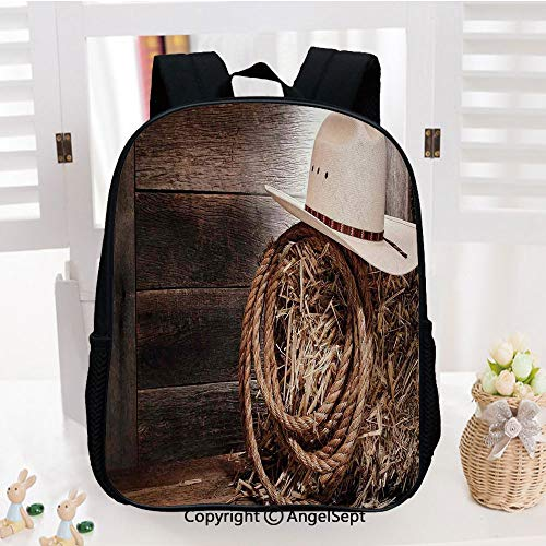 Kids School Backpack,American West Rodeo Hat with Traditional Ranching Robe on Wooden Ground Folk Art Photo Decorative Nursery Room Decorations Classic,Plain Bookbag Travel Daypack,Brown Beige