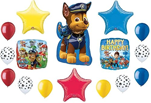 PAW PATROL Chase Shield Dog Doggy Puppy 16 Pc Party Mylar Latex Balloons Set