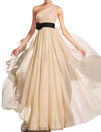 Chiffon Evening Dress for Women Champagne One Shoulder Floor Length Bridesmaid Dress