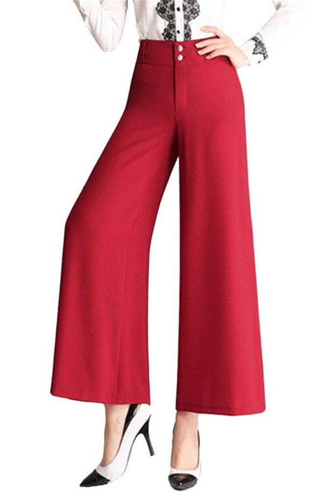 Tailloday Womens High Waist Palazoo Gaucho Ankle Pants Boho Linen Culottes L(Tag 32)