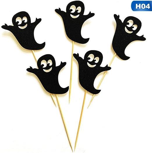 YHSY ANFLY 5 Unids/Pack Fantasma Bruja Gato de Halloween Pastel de Postre Creativo Bandera de Halloween Decoración ...