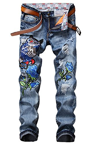 Owl 2 Embroidery (Sokotoo Men's Owl Blue Rose Embroidery Denim Jeans Size 30)