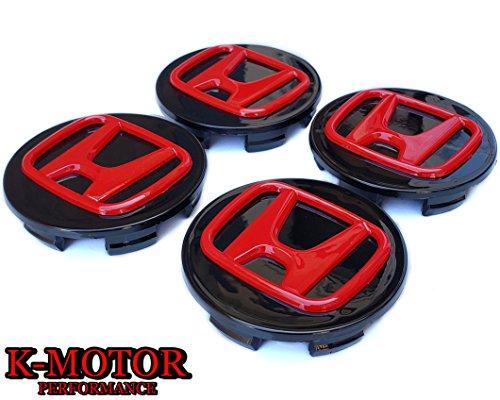 K-MOTOR 69MM SET x4 CENTER CAPS HUB CAPS CRV CIVIC,ACCORD, ELEMENT ODYSSEY PILOT -