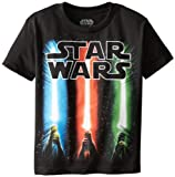 Star Wars Boys' T-Shirt, Saber Black, Medium