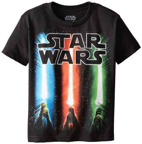 Wars Kids Star For T-shirts - Star Wars Boys' T-Shirt, Saber Black, Small