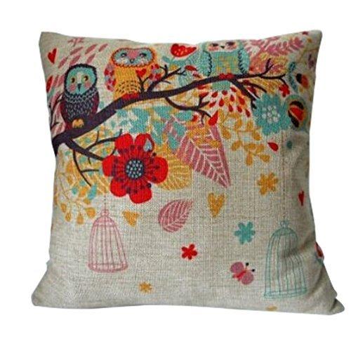 Crazy Cart Owls with Birdcage on Tree Cotton Linen Home Decorative Pillowcase Cushion Cover 1818 inch (Birdcage Decor)