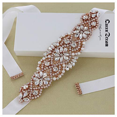 Rhinestone Crystal Sash Wedding Dress Belt White Bridal