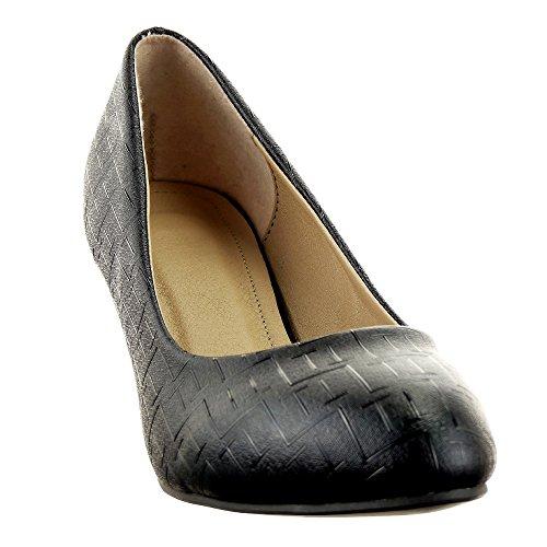 Sopily - Chaussure Mode Escarpin Decolleté Stiletto Decolleté Cheville femmes Moderne Lignes Talon cönique 5.5 CM - Noir
